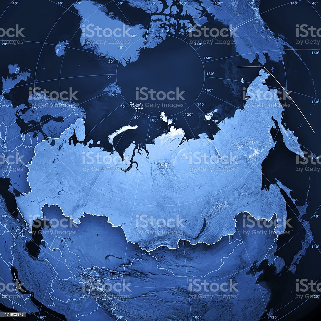 Russia Topographic Map stock photo