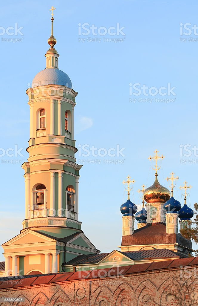 Russia. Wall, tower and dome of the Russian monastery of Optina stock photo