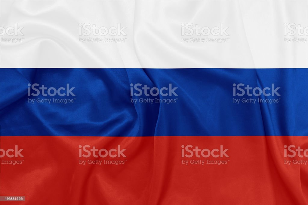Russia - Waving national flag on silk texture stock photo