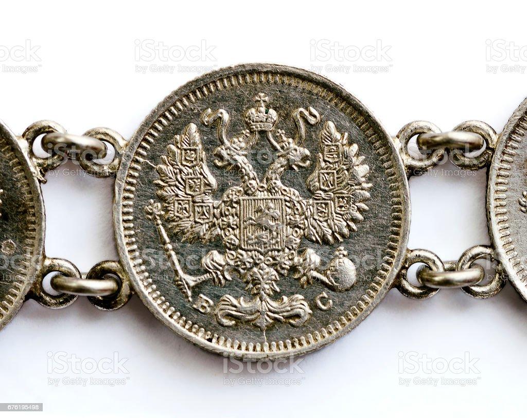 russian 10 copecks silvercoin stock photo