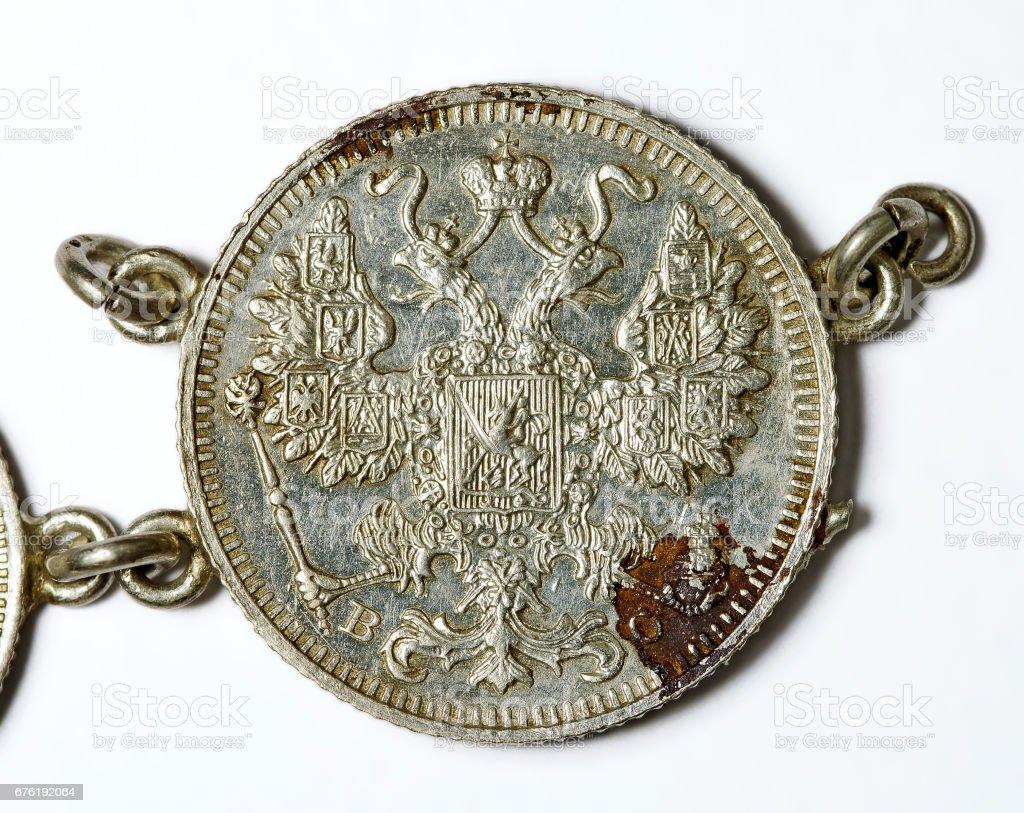 russian 15 copecks silvercoin stock photo