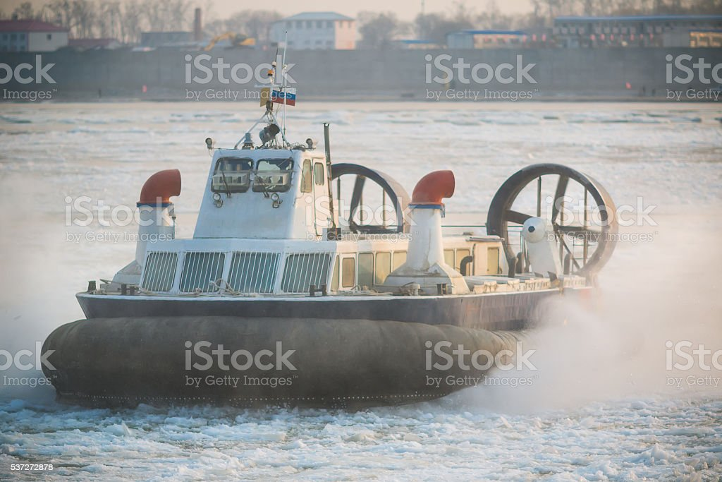 Russian ACV Hovercraft in Action on a Frozen River stock photo