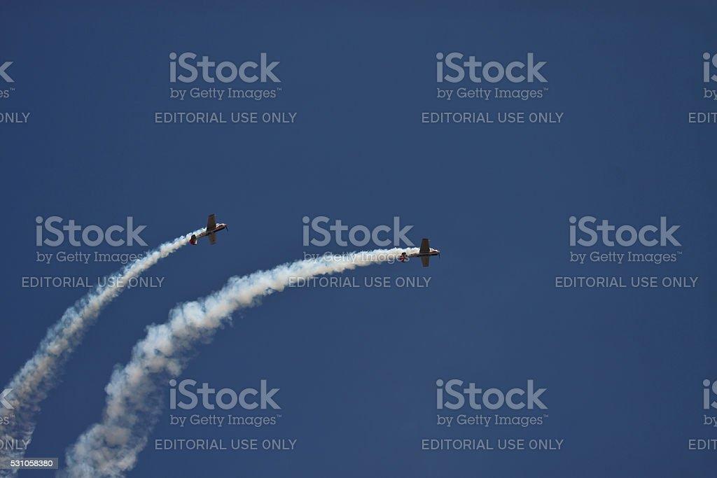 Russian aerobatic team in Aero India stock photo