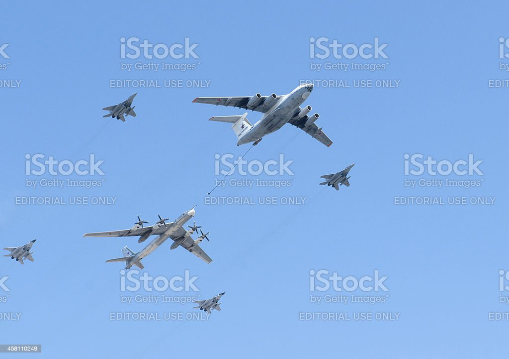 Russian air force IL-86, Tu-95 strategic bomber and MiG-29 royalty-free stock photo