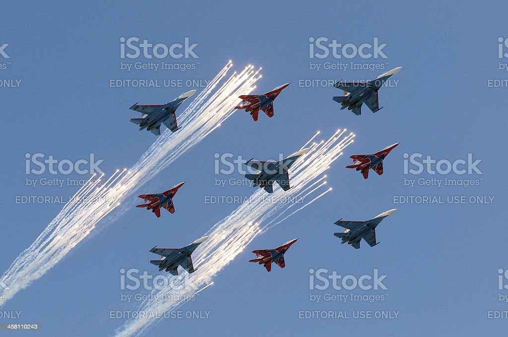 Russian air force make a fireshow royalty-free stock photo