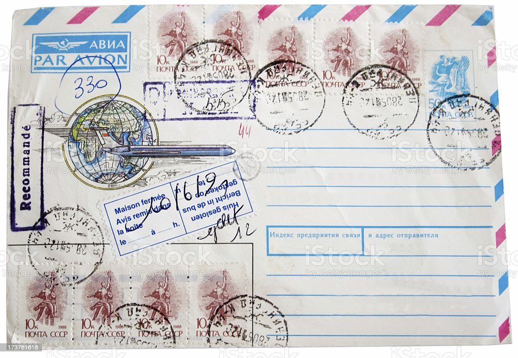 Russian air mail envelope with post stamps royalty-free stock photo