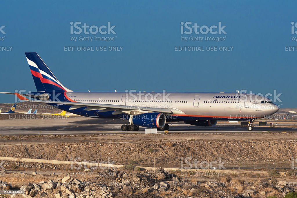 Russian airliner Aeroflot Airbus A330 stock photo