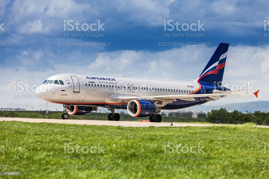 Russian Airlines taking off at Pleso Airport in Zagreb, Croatia stock photo