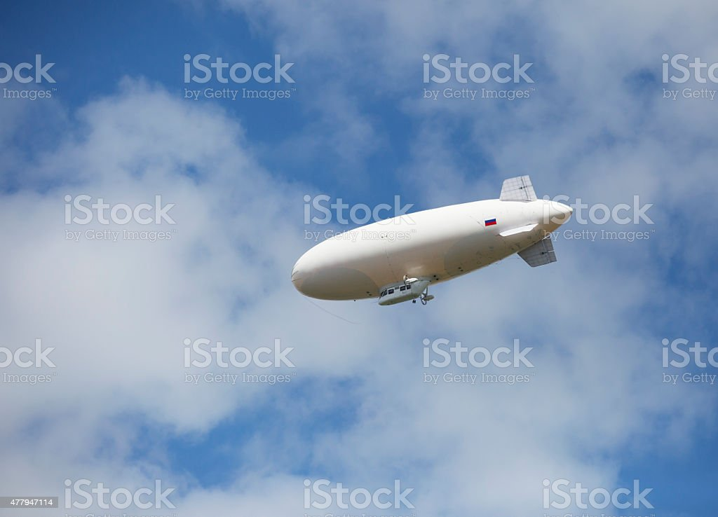 Russian airship in the sky. stock photo