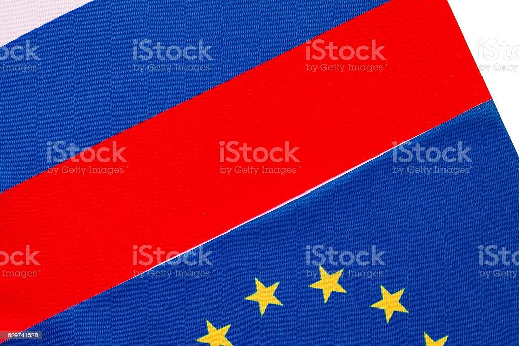 Russian and European Union flag stock photo
