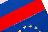 Russian and European Union flag