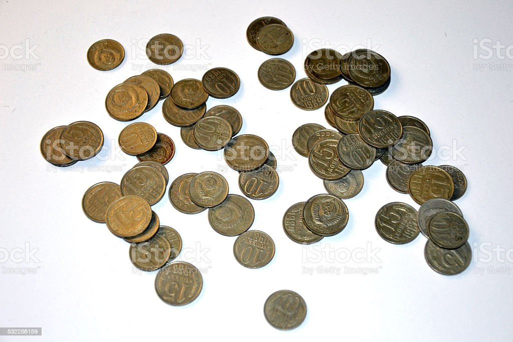 Russian and Soviet coins stock photo