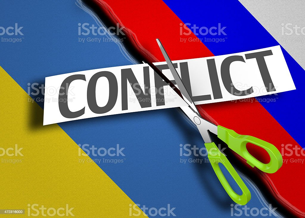 Russian and Ukrainian conflict stock photo