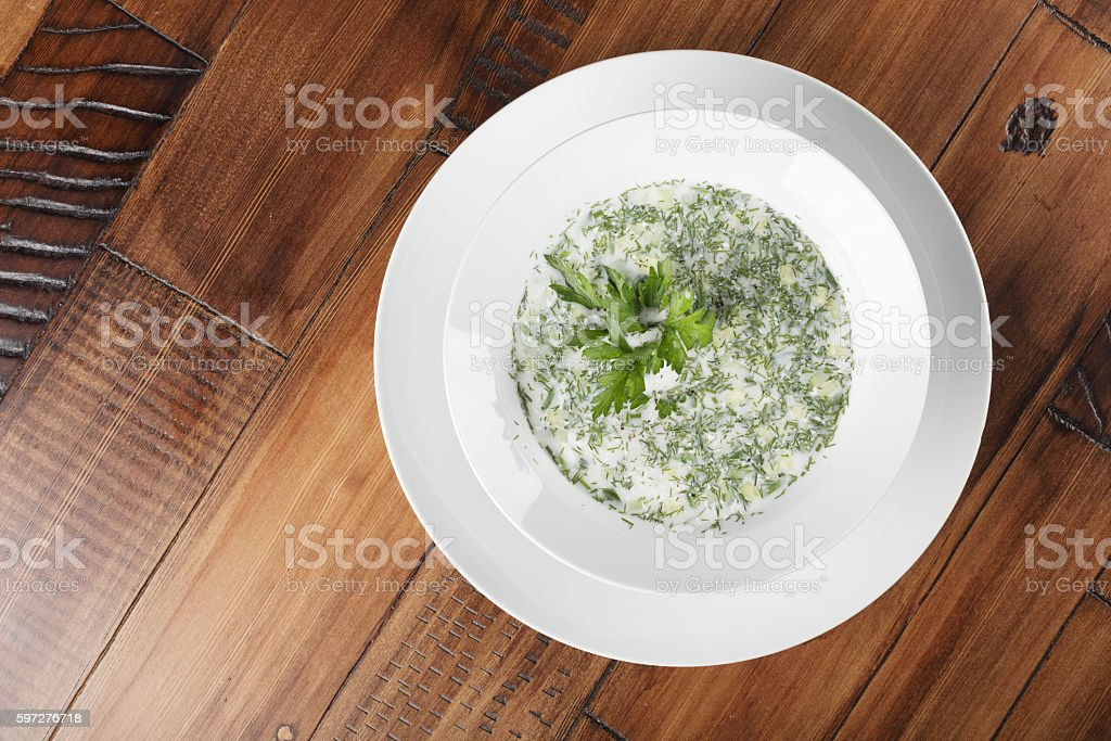 Russian and ukrainian traditional cold soup (okroshka) stock photo