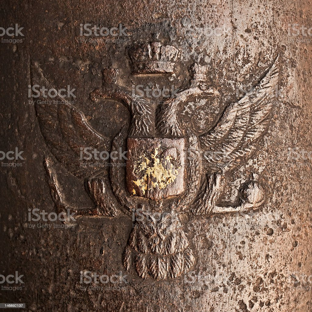 Russian Arms on iron stock photo