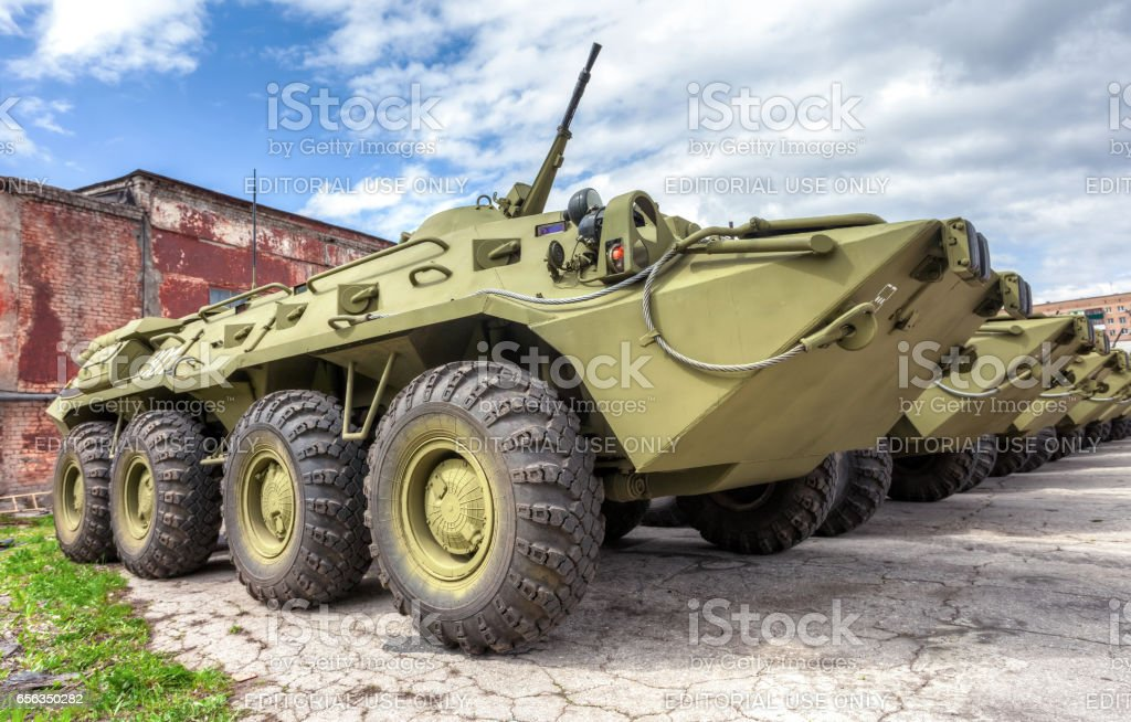Russian Army BTR-80 wheeled armoured vehicle personnel carrier stock photo