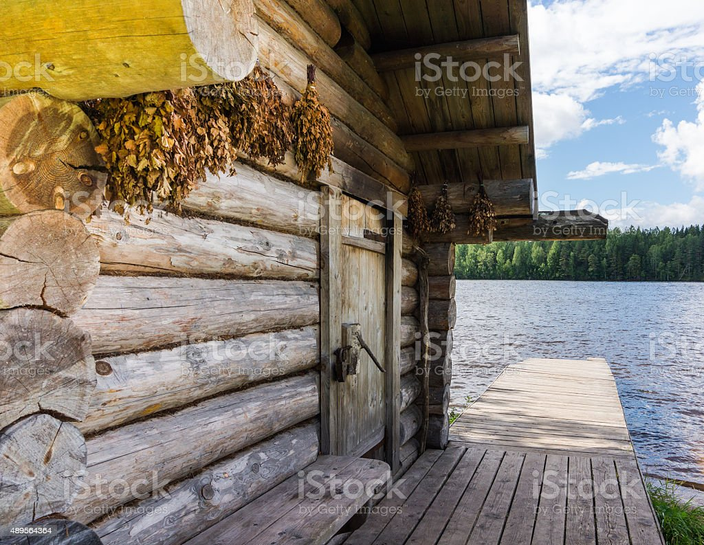 Russian Banya, bath house stock photo