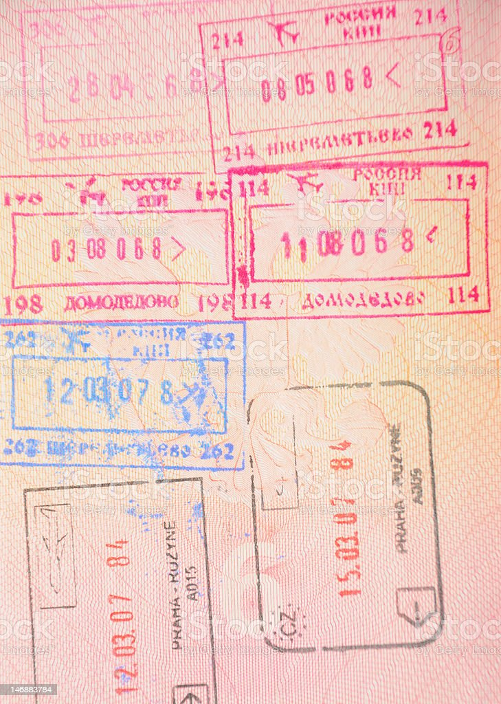 Russian border stamps royalty-free stock photo