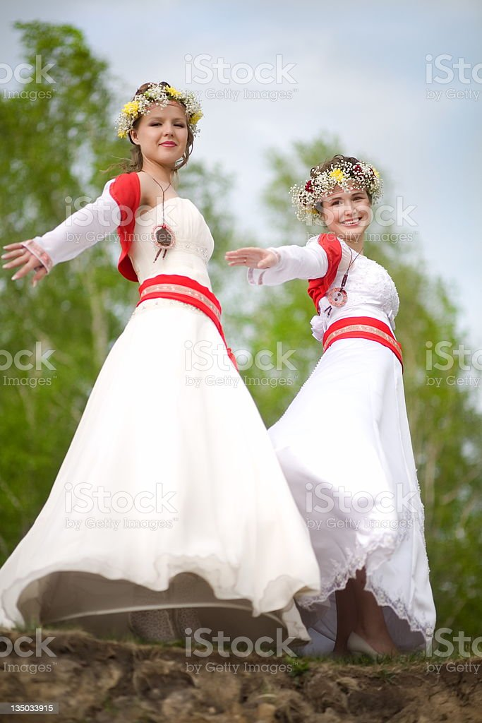 Russian brides. royalty-free stock photo