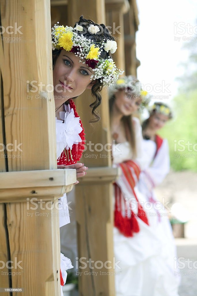 Russian brides. royalty-free stock photo