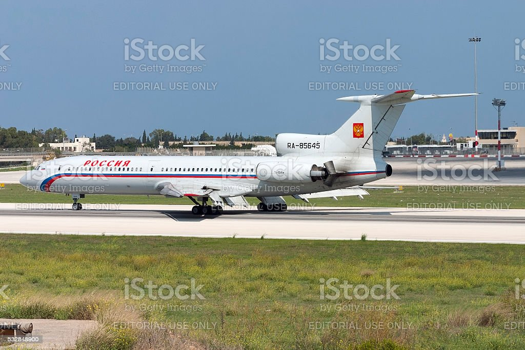 Russian built Tupolev airliner stock photo