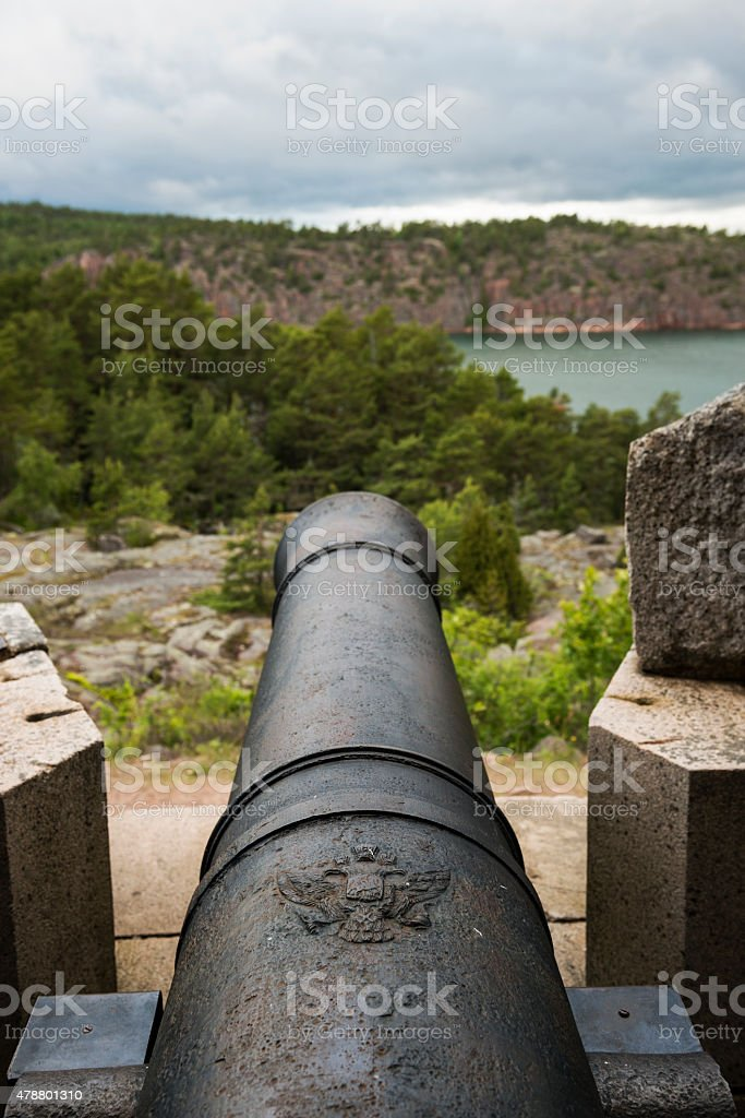 Russian cannon at Notvik Tower, Bomarsund Fortress in Aland, Finland stock photo