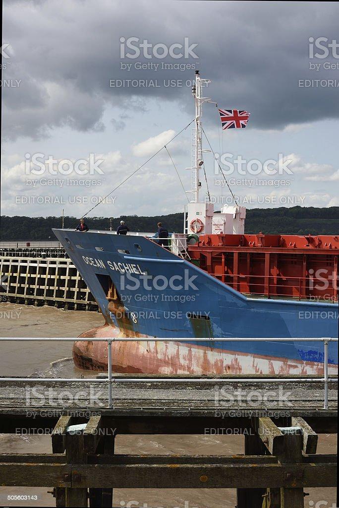 Russian Cargo Ship leaving Sharpness Dock. stock photo