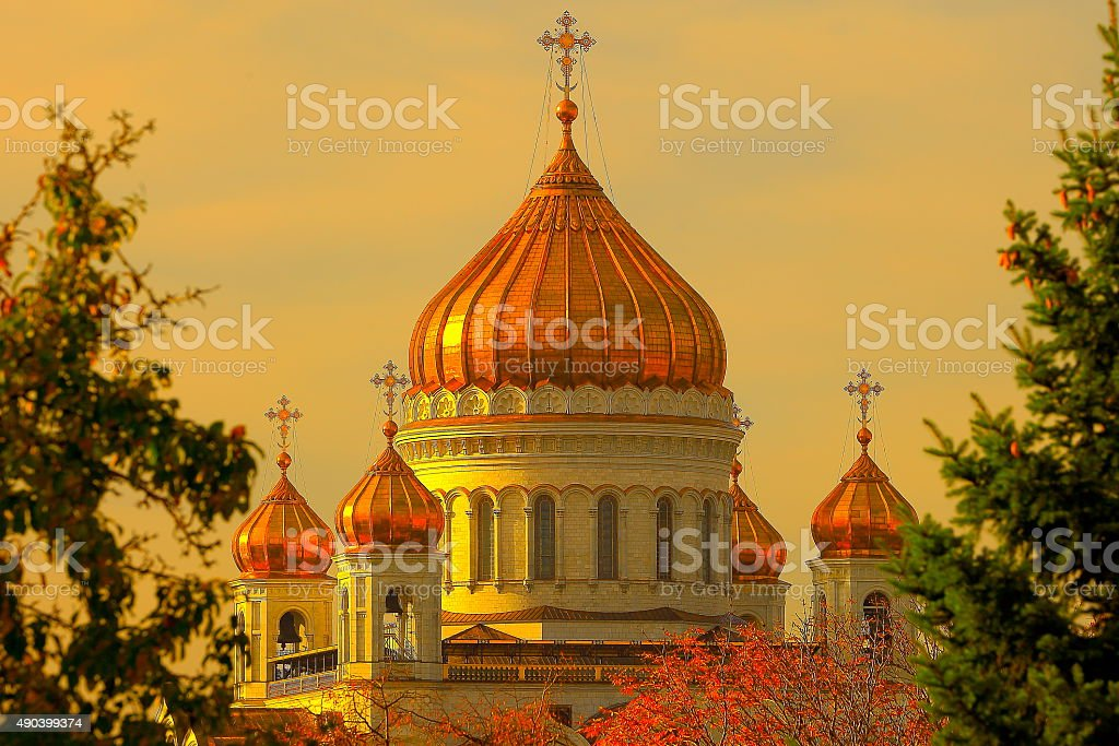 Russian Cathedral of Christ the Savior, bright sunset, Moscow stock photo