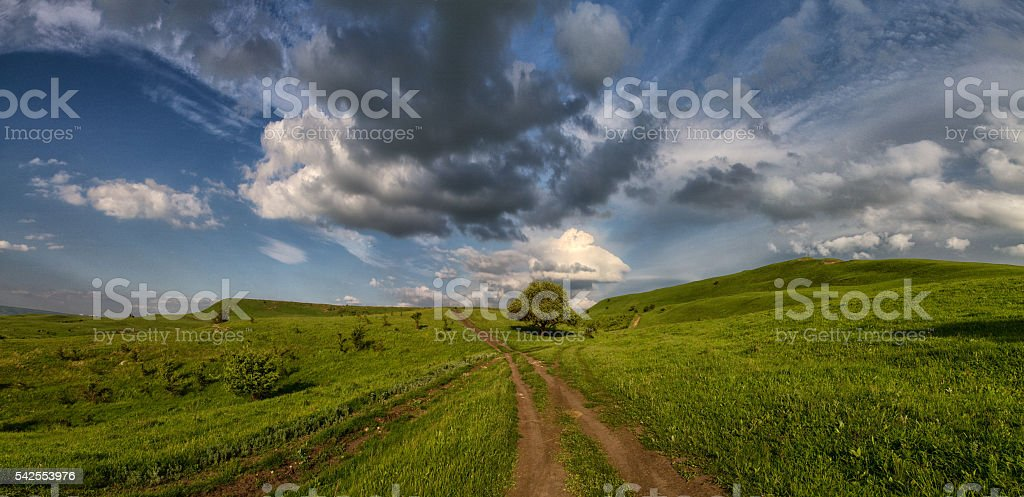 Russian Caucasus green mountains stock photo
