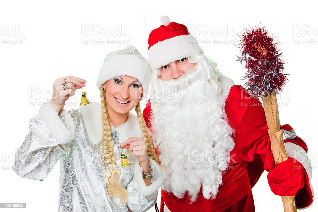 Russian Christmas characters father Frost and Snow Maiden royalty-free stock photo