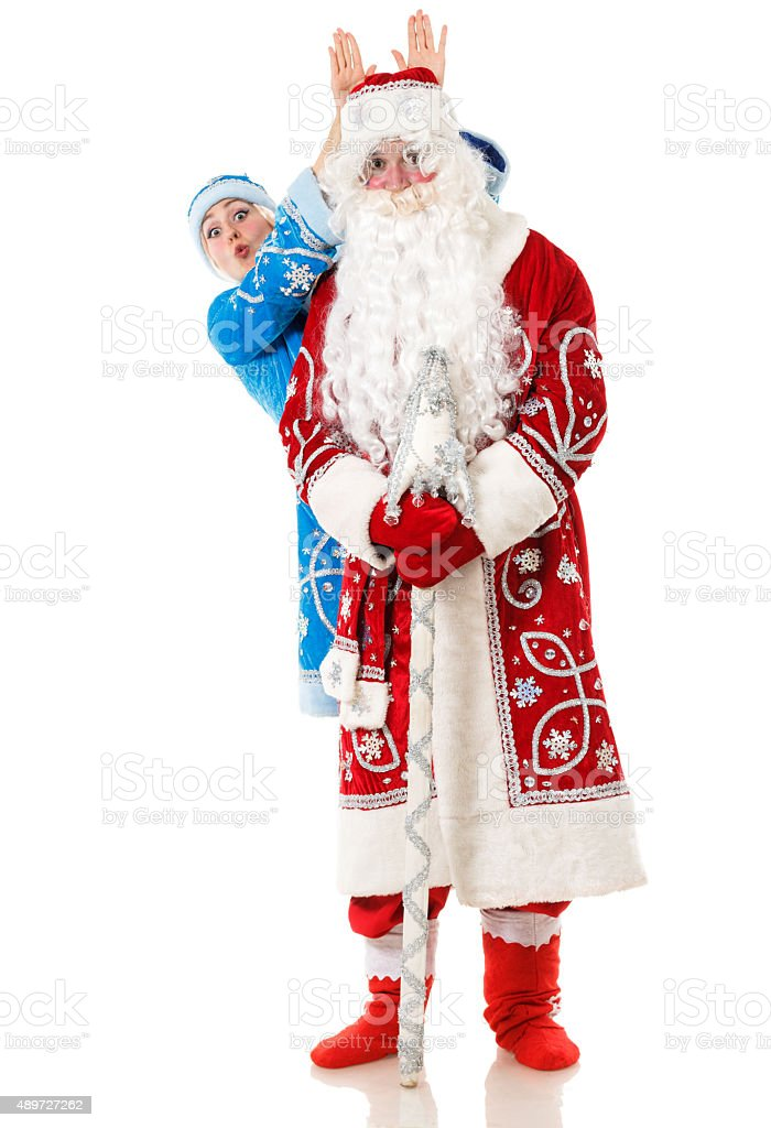 Russian Christmas. Father Frost and Snegurochka (Snow Maiden) stock photo