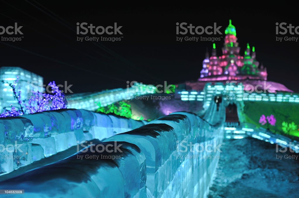 Russian church at Harbin ice festival stock photo