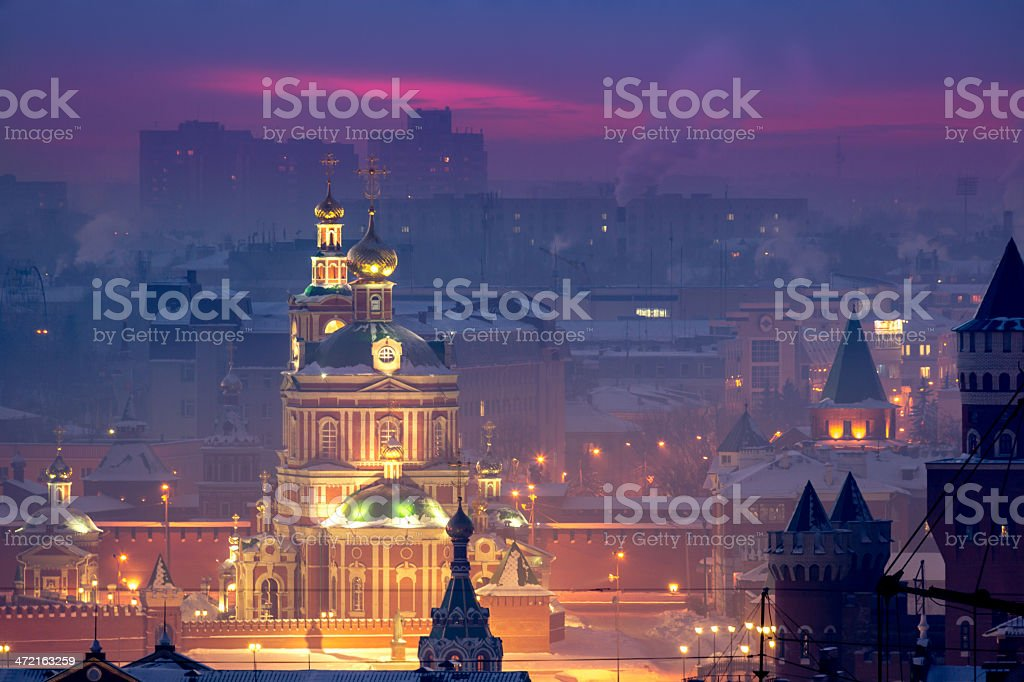 Russian church in snowbound town stock photo