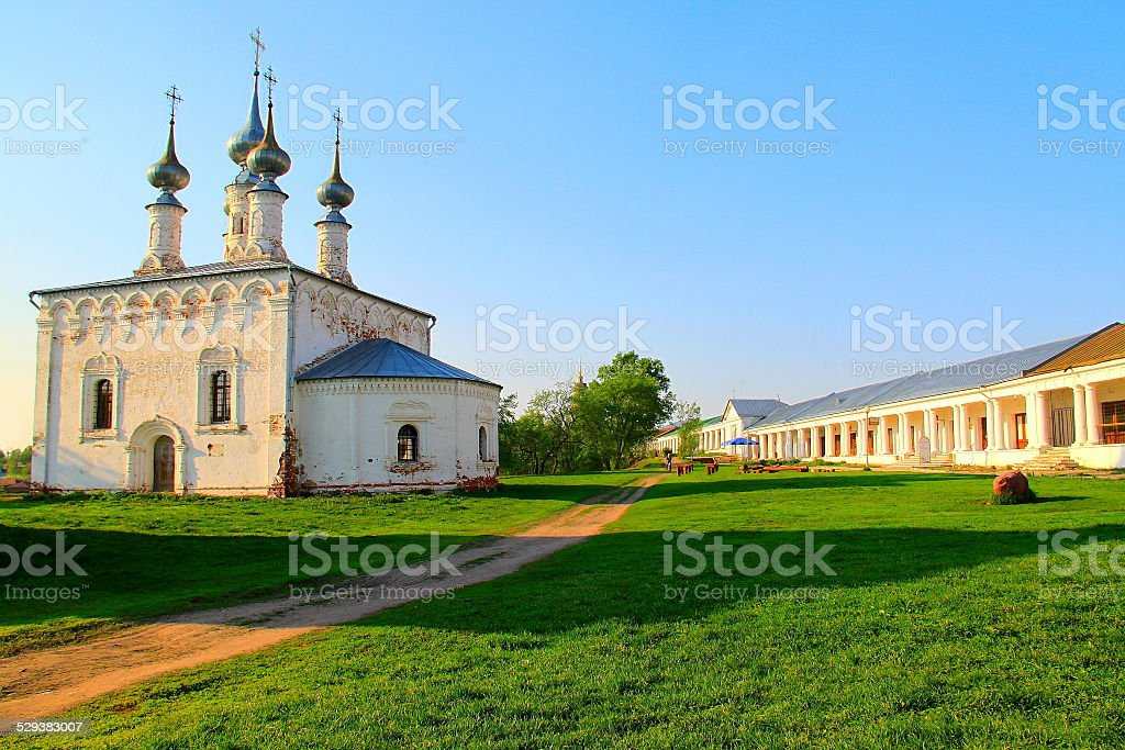 Russian church in Suzdal at sunset - Golden ring, Russia stock photo