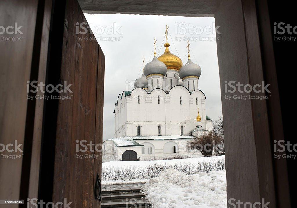 Russian Church in winter stock photo