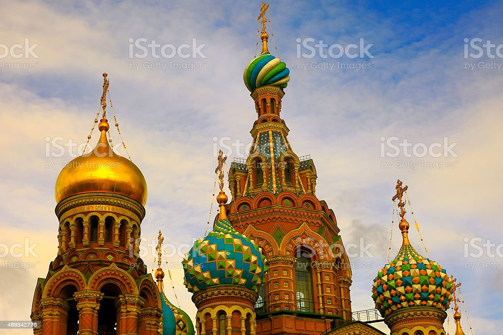 Russian Church Savior on Spilled Blood sunset, St. Petersburg stock photo