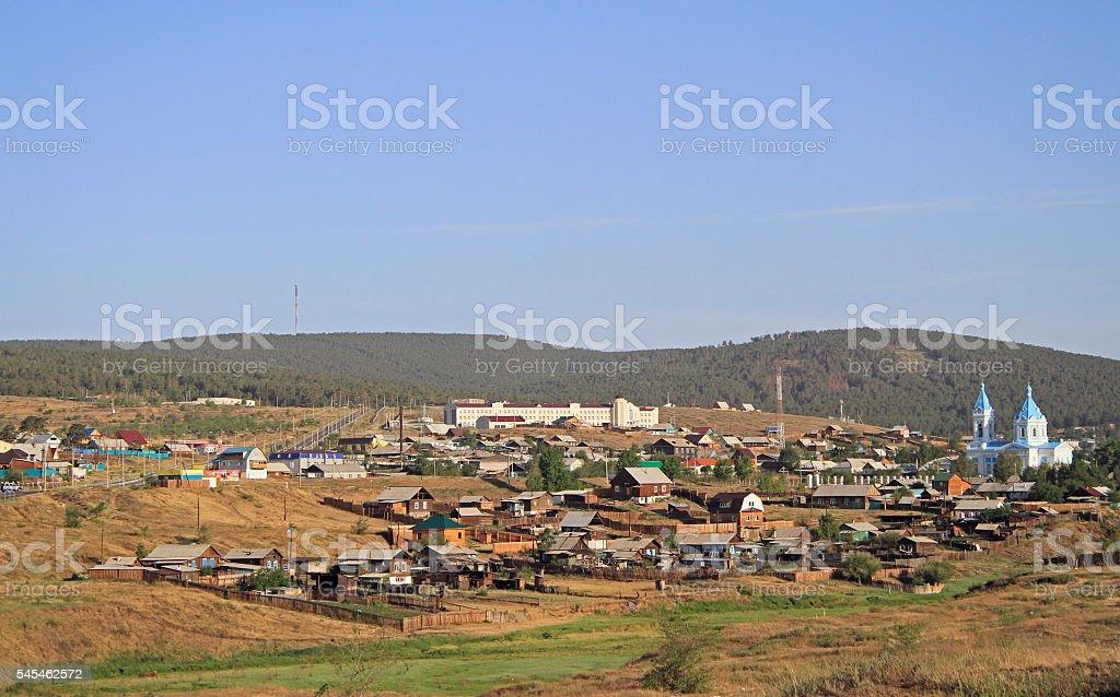 russian city Kyakhta on the border with Mongolia stock photo