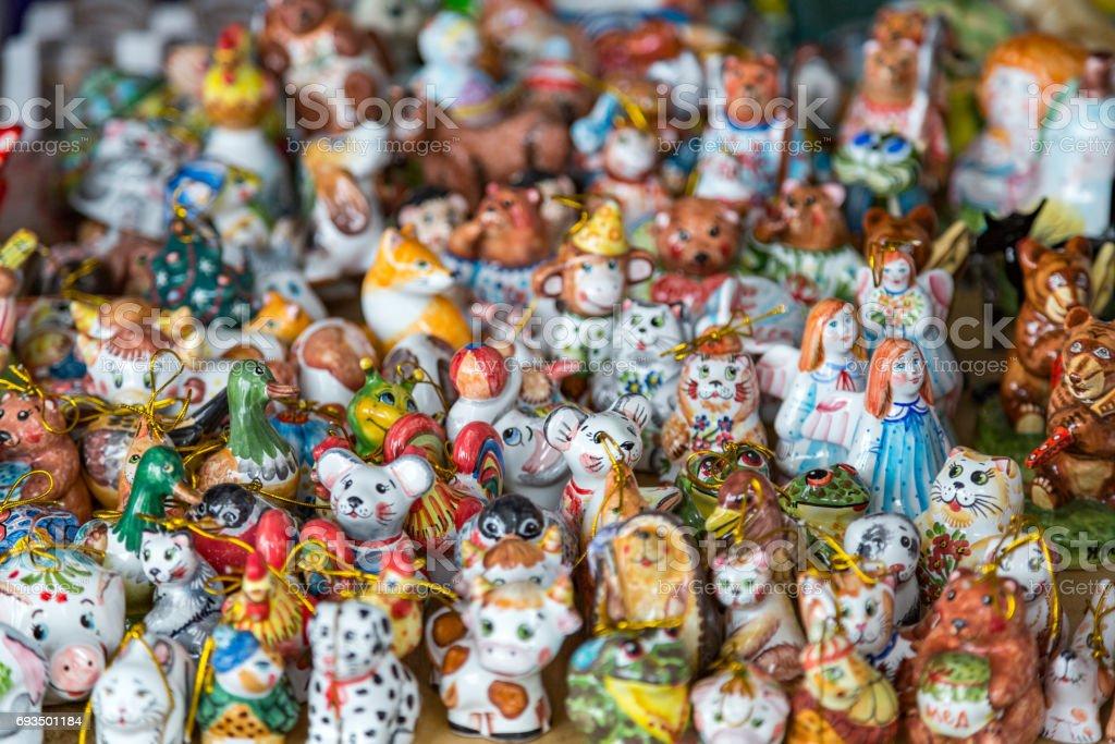Russian clay souvenirs stock photo