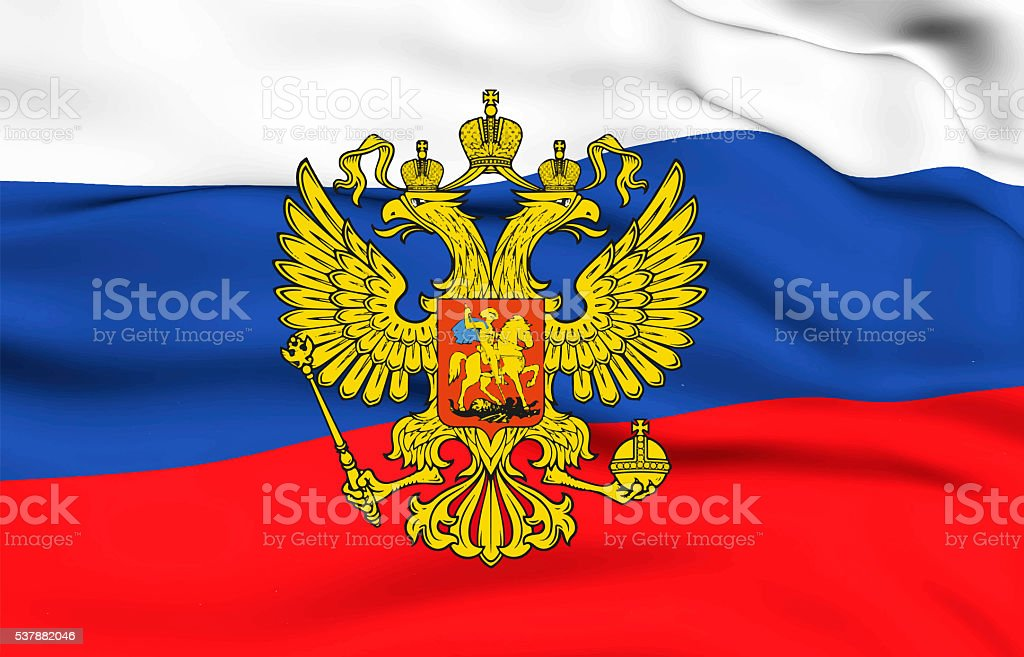 russian coat of arms. 12 june. Happy Russia day! stock photo