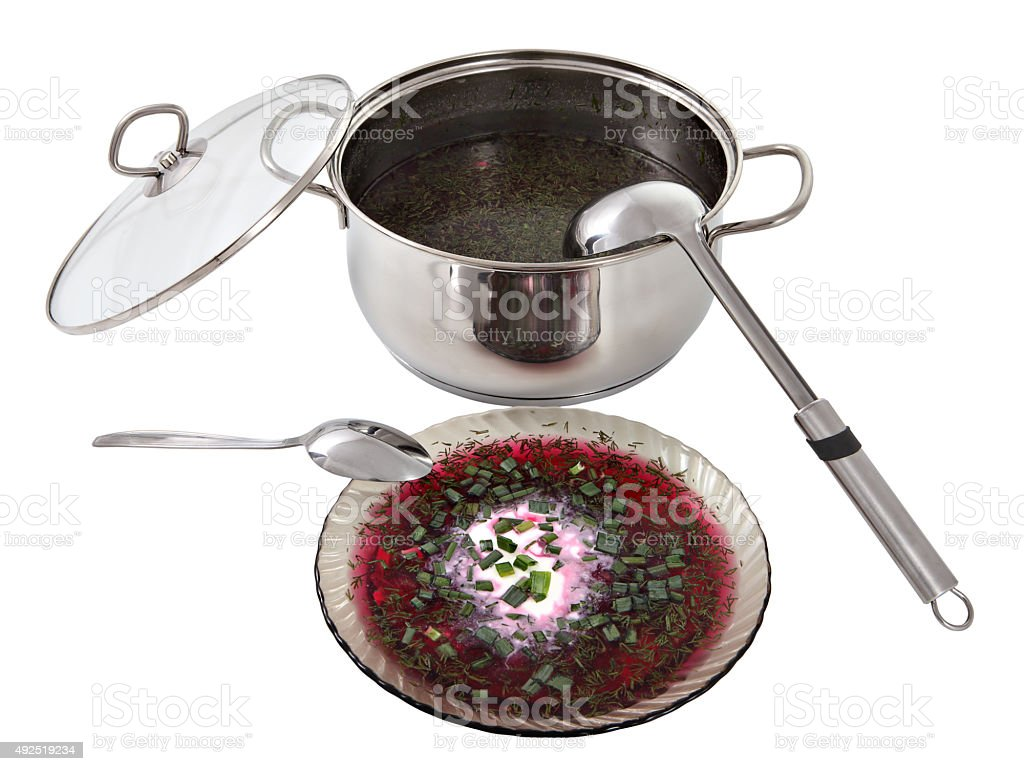 Russian cold beet borscht decorated sour cream and green onions. stock photo