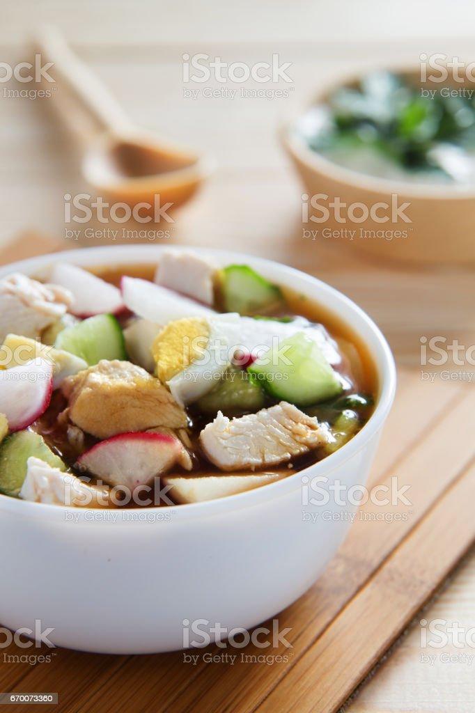 Russian cold soup - okroshka stock photo