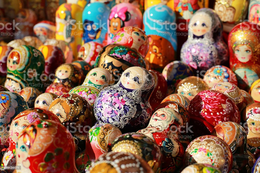 Russian colored dolls royalty-free stock photo