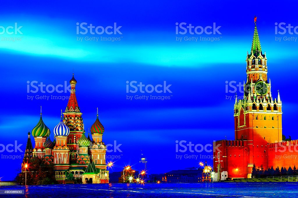 Russian colorful illuminated Red Square, Moscow, dramatic blue evening stock photo