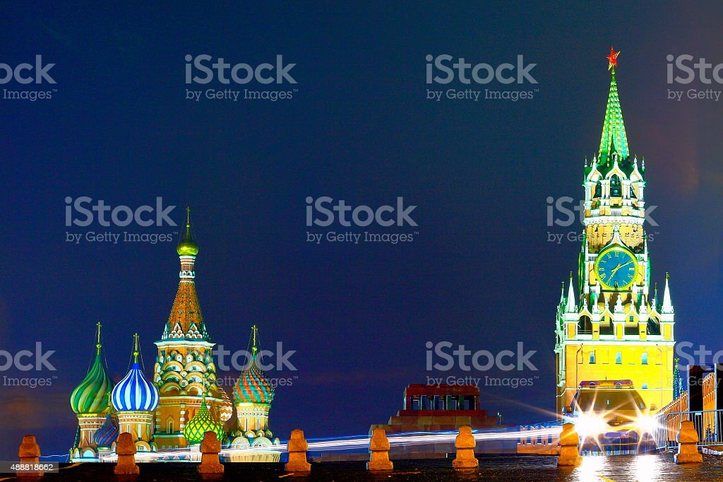 Russian colorful Red Square, car police lights, Moscow, dramatic evening stock photo