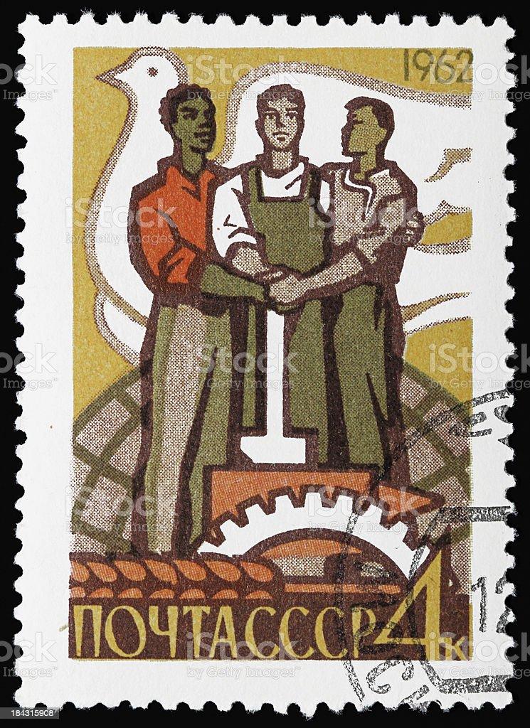 Russian communist stamp stock photo