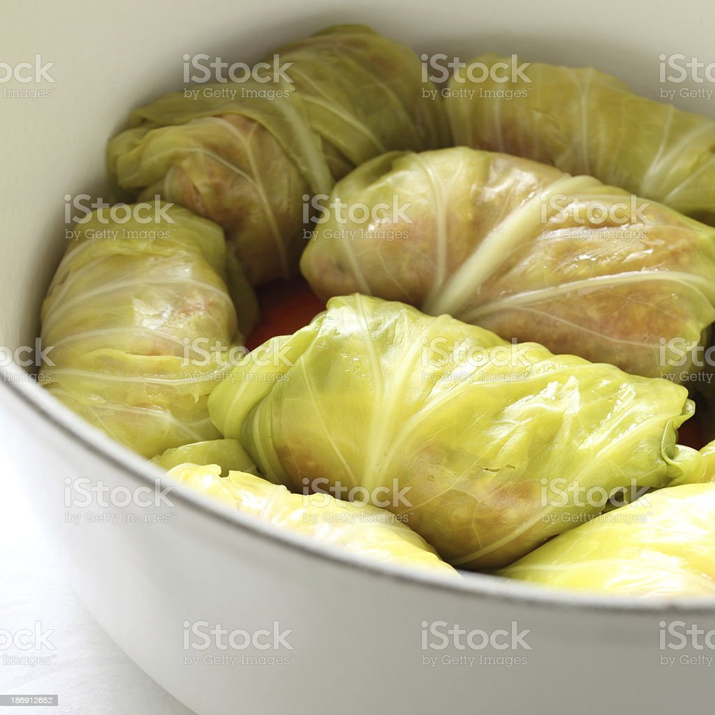 russian cooking, cabbage roll stock photo