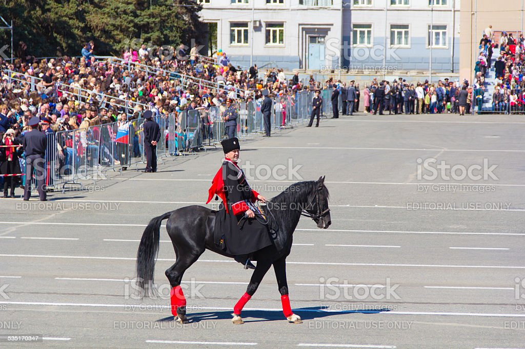 Russian cossacks at the parade on annual Victory Day stock photo