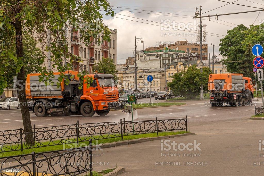 Russian Council Trucks Washing The Roads stock photo