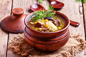 Russian cuisine: soup with beef