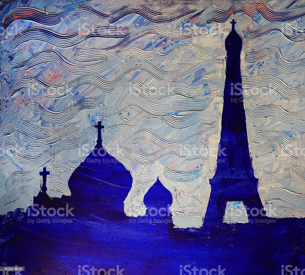 Russian Cultural Center and Eiffel Tower in Paris, France stock photo